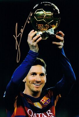LIONEL MESSI BARCELONA HAND SIGNED PHOTO AUTHENTIC + COA - 12x8