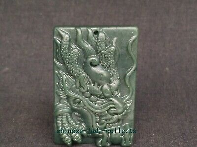 Collection China Natural Green Jade Hand Carving Dragon Statue Pendant Necklace