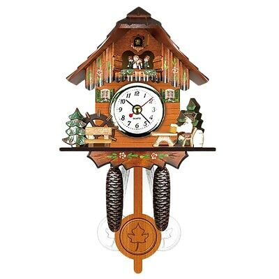 Antique Wooden Cuckoo Wall Clock Bird Time Bell Swing Alarm Watch Home Art  A1S7