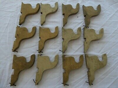 lot of 12 Antique wooden curtain rod brackets Victorian pole holders supports