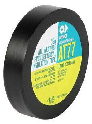 Advance Tapes AT77 Black Electrical Tape 19mm x 33m PVC 0.19mm Rubber Resin 1000