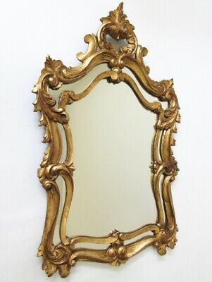 Hollywood Regency Italian mid century Wood carved gold gilt mirror Louis XVI 60s