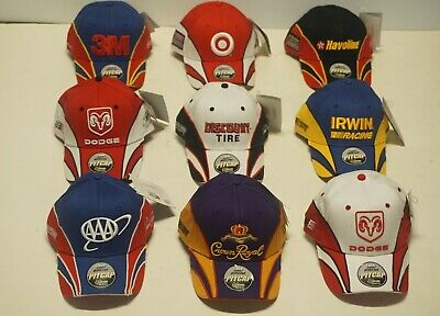 Lot of 9 - 2007 Official NASCAR Racing Pit Caps/Hats - Made by Chase Authentics