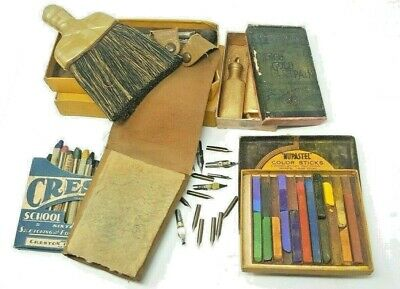 Used Artists Materials Lot including Antique Box of Marschings French Gold Paint