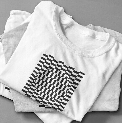 MANS OPTICAL ILLUSION SPIRAL PSYCHEDELIC PRINTED WHITE T SHIRT S-5XL