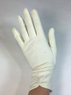 Vintage 1950's 1960's ivory or cream nylon gloves with floral embroidery details