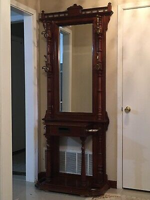 Stunning Vintage Pulaski Furniture Hall Tree/ Entrance Console Table With Mirror