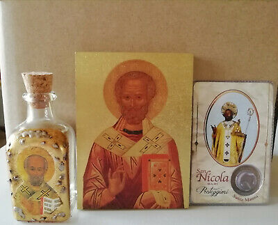 BOTTLE w/RELIC St.NICHOLAS of BARI-MANNA+image w/drop of manna+ICON-SANTA CLAUS