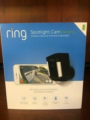 NEW Ring Spotlight Cam 1080p Outdoor Wi-Fi Camera (Battery-Powered, Black)