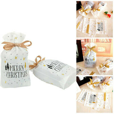10//50Festival Treat Bags Party Cookies Candy Drawsting Gift  Plastic Package