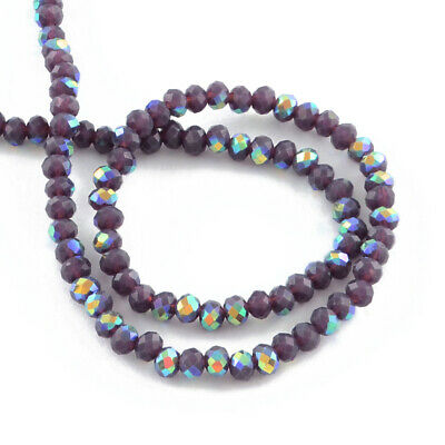 3 Packs Crystal Opaque Glass Faceted Rondelle Beads 4x6mm Purple 3x95+ Pcs AB