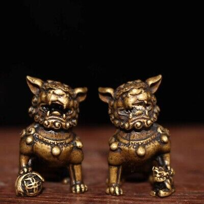 Collectable Handwork Decor Old Copper Carve Wealthy Lion Lucky One Pair Statue