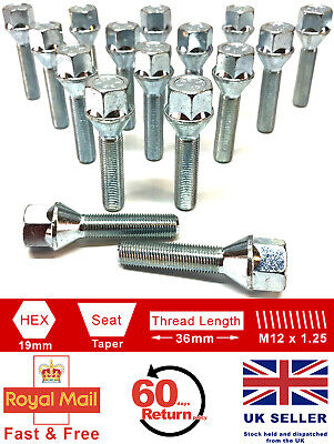 16 x M12 x 1.25 36mm extended thread 19mm Hex alloy wheel bolts for Fiat