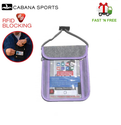 Cabana Sports Travel Passport Holder Neck Pouch Neck Wallet with RFID Blocking