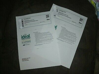 2 Adult Tickets Ideal Home Show Christmas Olympia  London Wednesday 20 November