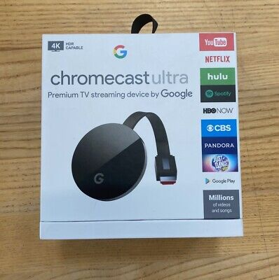 Google Chromecast Ultra - 4K and HDR Streaming Device TV HD Chrome Ethernet New