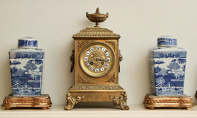 A Good mid c19th Japy Freres Striking Mantel Clock, Brass Case