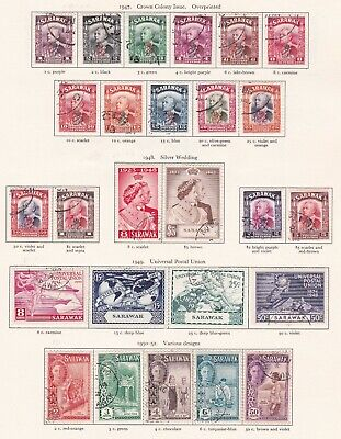 British Commonwealth. Sarawak. TWO SCANS. George VI 1947-52  issues. Used.