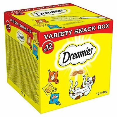 Dreamies Cat Treats Variety Snack Box with Chicken Cheese and Salmon 1 Box 12 ct