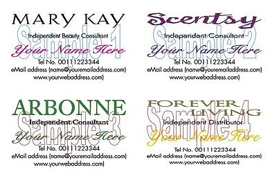 BUSINESS CARDS 100 Mary Kay Scentsty Arbonne Forever Living Personalised Printed
