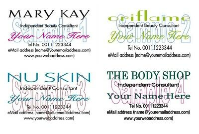 Personalised The Body Shop Mary Kay Oriflame NuSkin BUSINESS CARDS 100 Printed