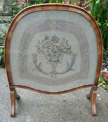 Rare Style Quality Antique Georgian Embroidered Fire Screen