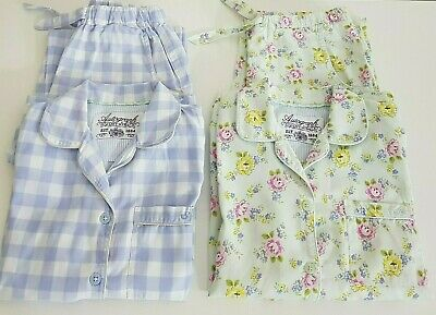 2 Pairs M&S Autograph Girls Traditional Cotton Floral & Gingham Pyjamas Age 7-8