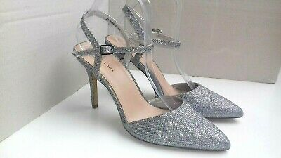 NEW LOOK shoes size 7 silver mesh ankle strap shiny pointed toe smart party