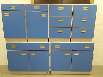 Lot of 6 Lab Cupboards / Cabinets Blue, 4 Single units, 2 Doubles