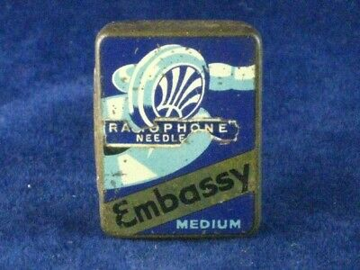 39961 Old Antique Vintage Gramophone Needle Tin Box Record Player Embassy