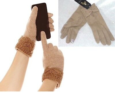 NEW Mixit Women's Gloves Day Glam Touchscreen Lightweight Wool Nylon One Size