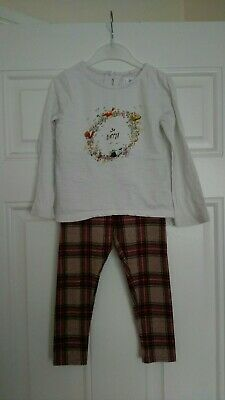 Girls next Outfit long sleeve top and checked leggings 2-3 Years