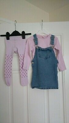 Girls Next Outfit Long Sleeve top and denim pinafore dress with Tights 2-3 Years