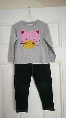 Girls outfit Next cat Long Sleeve top and George leggings 2-3 Years