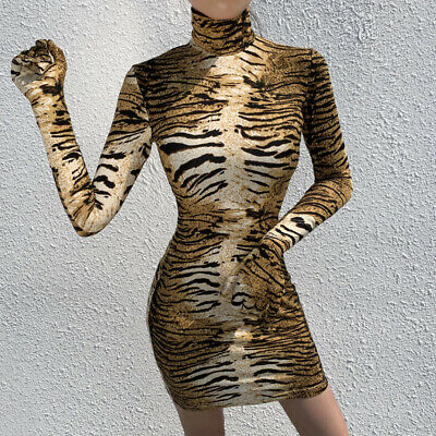 Women's Sexy Long-sleeved Tiger Pattern Print Slim Tight Mini Dress with Gloves