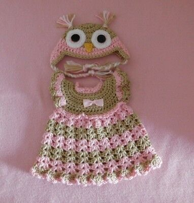"""Wellie Wishers Doll Clothes Pink Owl Dress & Hat Fits American Girl 14.5"""""""