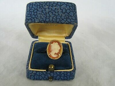 Vintage Art Deco 14k Yellow Gold Carved Cameo Ring, S: 5.5 w/ Orig Box
