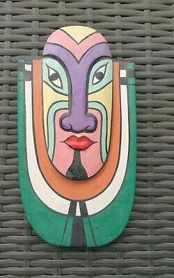 Vintage Handmade Colourful South American Wooden Mask. Hook For Hanging. Vgc