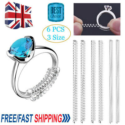 6pcs Ring Size Adjuster Reducer Invisible Snug SNUGGIES Rings Spiral Style UK