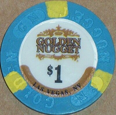 Old $1 GOLDEN NUGGET Casino Poker Chip Vintage Antique House Mold Las Vegas NV
