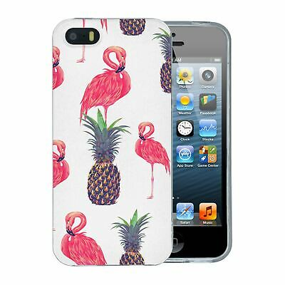 Pour Apple IPHONE 5 5S Se Silicone Étui Flamant Rose Tropical Fruit Rose - S723