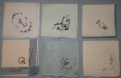 6 Vintage Embroidered Ladies Hankies