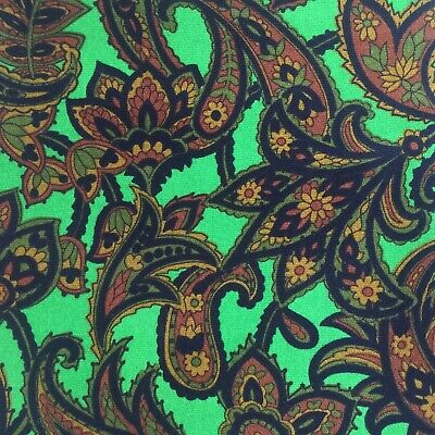 HUGE Vintage Paisley FABRIC Retro Craft Sewing Upholstery
