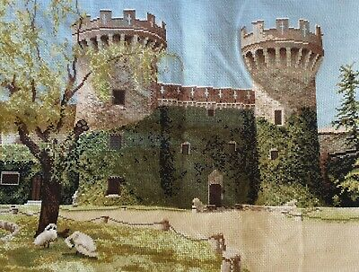Rural Old Castle completed cross stitch 60 x 50cm