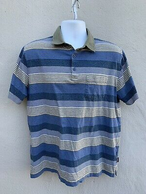 Mens Patagonia Gray Blue Cream Striped Polo Shirt Organic Cotton Size Large