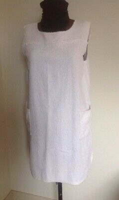 Towelling Beach Dress 1960's, 1970's White, Size 16 Vintage.