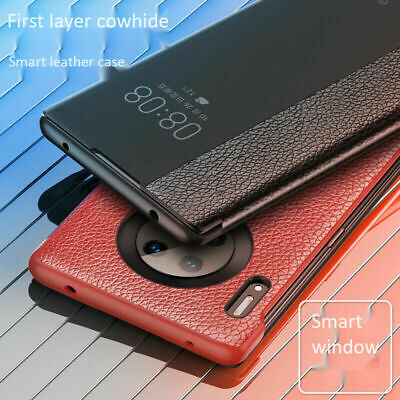 Smart Window View Cowhide Flip Case Cover For Huawei Mate 30 Pro 20 Lite P20 P30