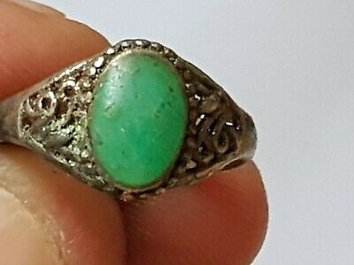 Extremely Rare Medieval Silvered Ring Superb Rare Stone.2,8 Gr.17 Mm