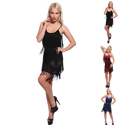 Ladies Flapper Costume Charleston 20s Gatsby Girl Fancy Dress Black Red Blue