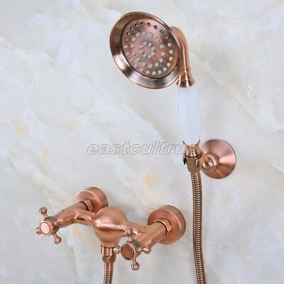 Antique Red Copper Wall Mounted Bathroom Shower Faucet Set Hand Shower ena297